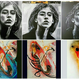 abstract portrait realism blackandwhite colorful