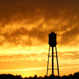 sunset watertower smalltown goldenhour canonphotography