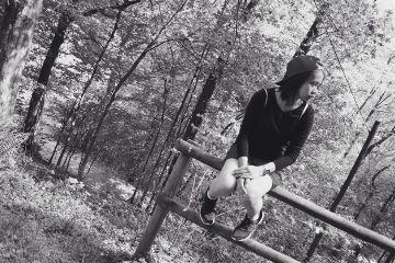 sister blackandwhite forest