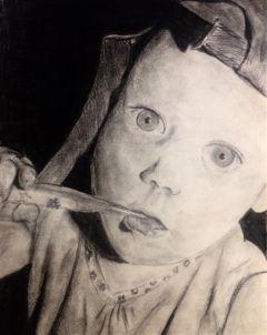 drawing baby me blackandwhite