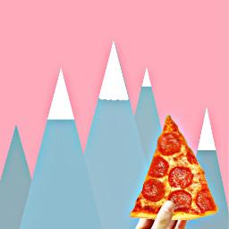 freetoedit pizza triiangle mountains pink wappopart