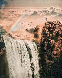 surrealism surreal rainbow waterfall paradise