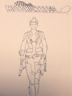 drawing moto huntress