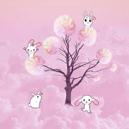 freetoedit oilpaintingeffect pink rabbits dailyremixmechallenge