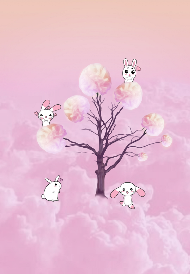 COTTON CANDY TREE Thanks @pa for featuring  my edit in Smash Hits and Remix Me Stars 🐇🐇 #FreeToEdit  #oilpaintingeffect #pink #rabbits  #dailyremixmechallenge